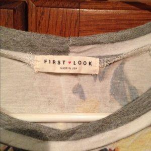 First Looks Tops - Grey white ladies tee